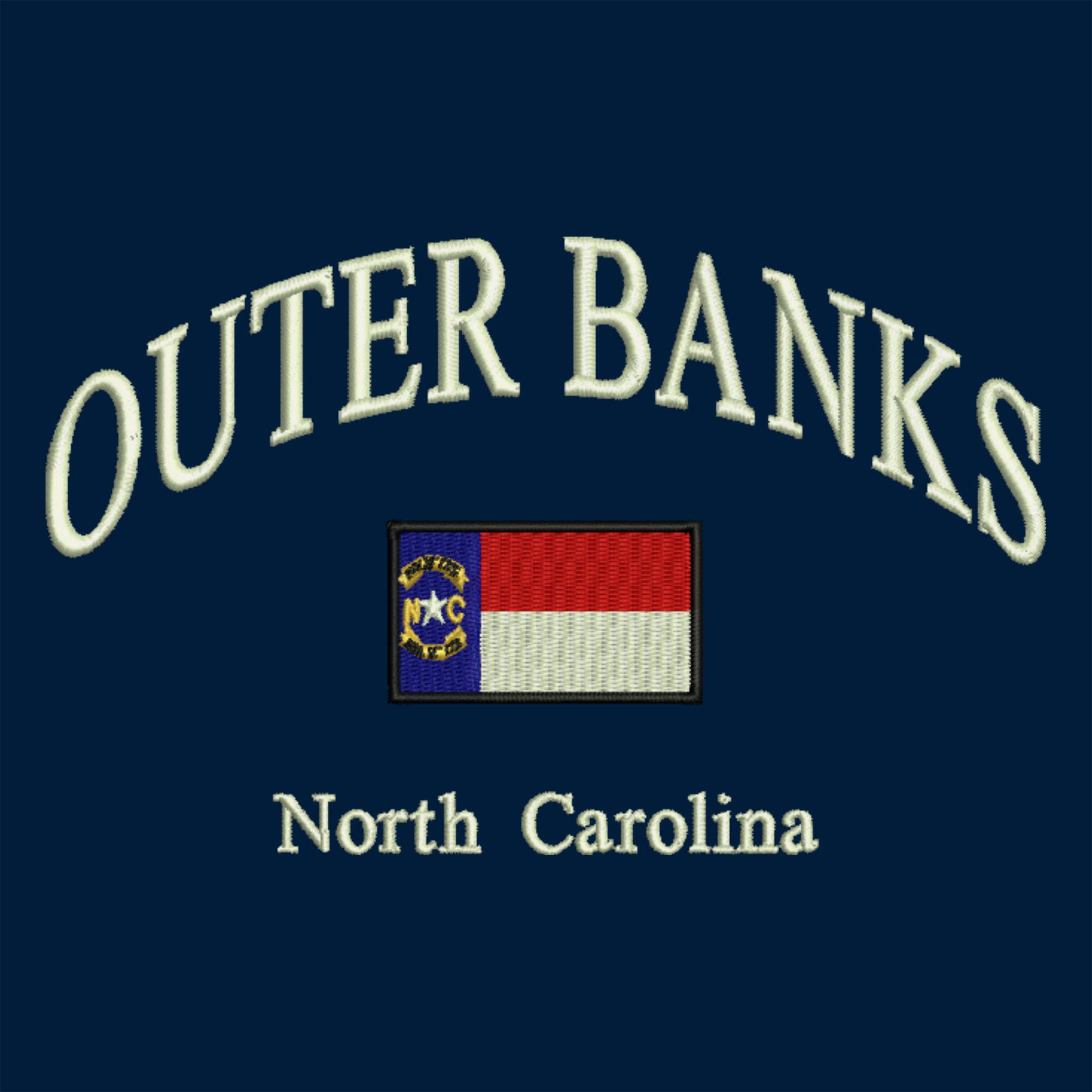 Arched Lettering North Carolina Flag